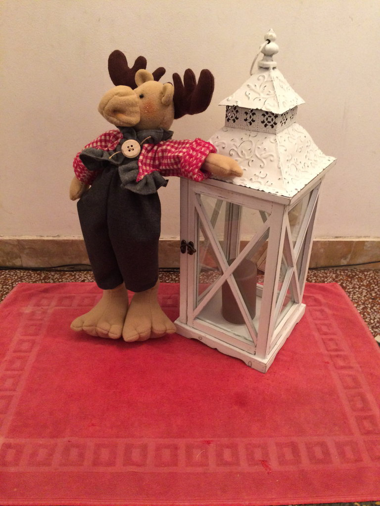 Pupazzo renna natalizia,addobbo decoro