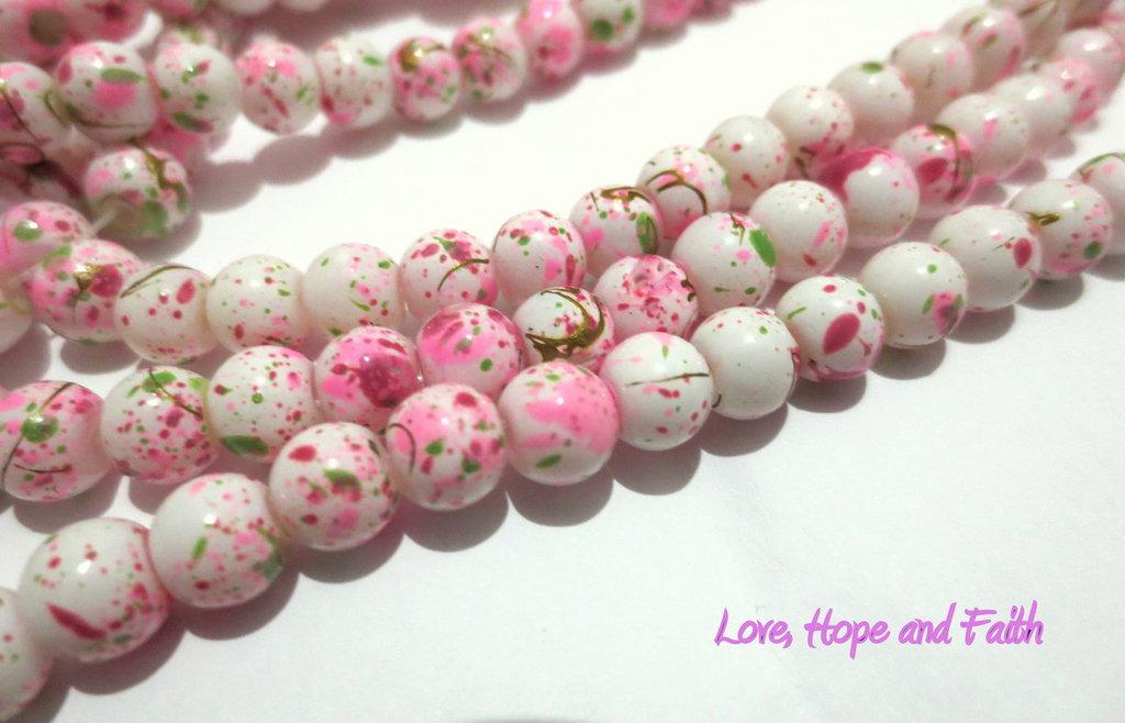LOTTO 20 perle in acrilico crackle bianco&rosa (6 mm) (cod.20088)