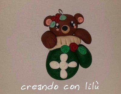 """ciondolo in fimo orso collezione  """"magico  natale """""""