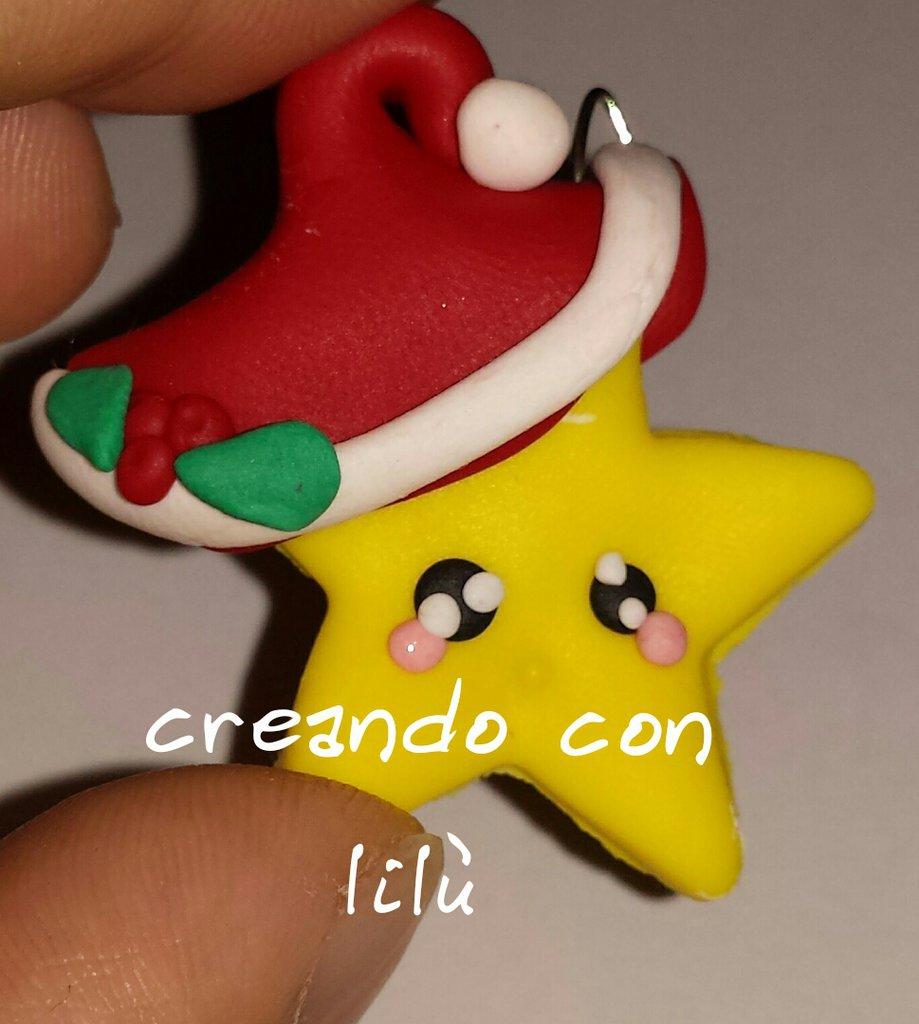 ciondoli in fimo stella natalizia