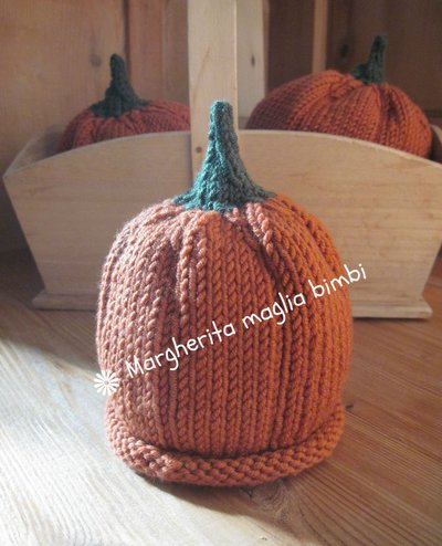 Berretto - zucca per bambino 3 mesi fatto a mano in pura lana merino