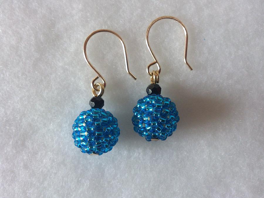 """Orecchini di perline """"Round"""" blu"""