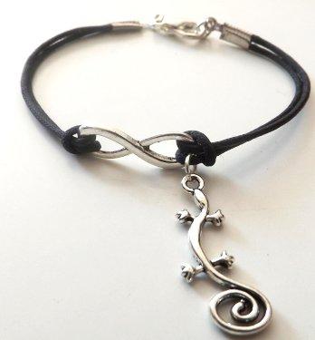 Bracciale in cordino nero con simbolo infinito e ciondolo geco in argento tibetano unisex idea regalo per lei e lui