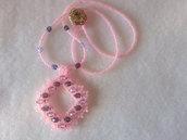 Collana di perline rosa con pendente di perline, ametista e rosa
