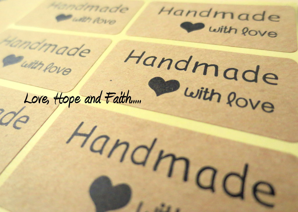 """LOTTO 6 stickers adesivi in carta """"Handmade with Love"""" (circa 4x2cm)"""