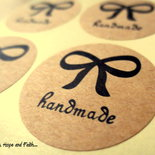 "LOTTO 6 stickers adesivi in carta ""Handmade"" (diametro 3x3cm)"