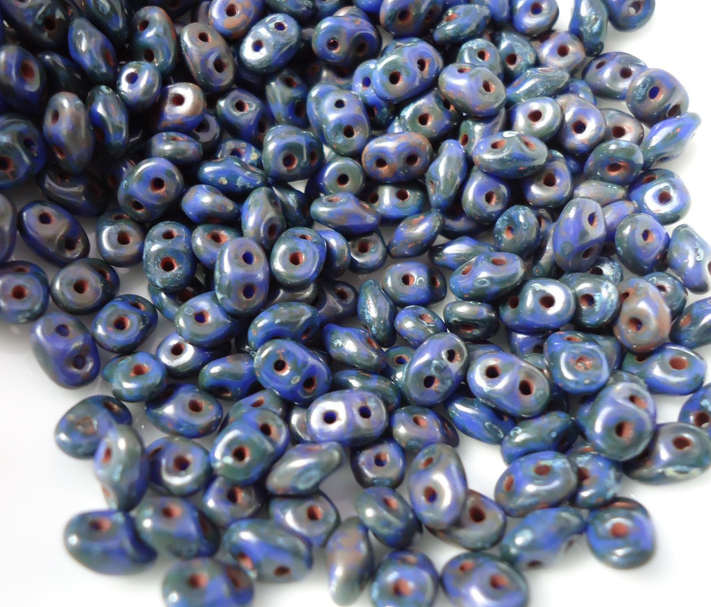 superduo perline OPAQUE BLUE PICASSO SILVER - 10gr