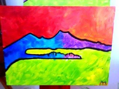 Quadro dipinto a mano su tela figurativo, Golfo di Napoli con colori stile pop