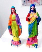 Statue Gesù e Madonna colorate stile Pop