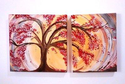 Quadro realizzato a mano raffigurante un albero dai fiori rossi e bianchi