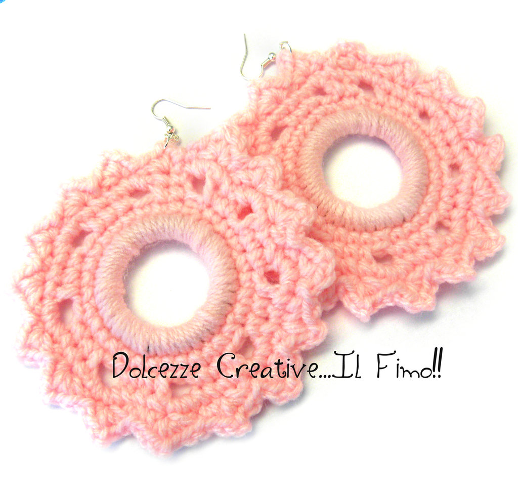 Orecchini MAXI Uncinetto Rosa a stella - Molto vistosi in lana