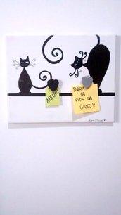Portafoto gatto nero su tela con mollettine in legno