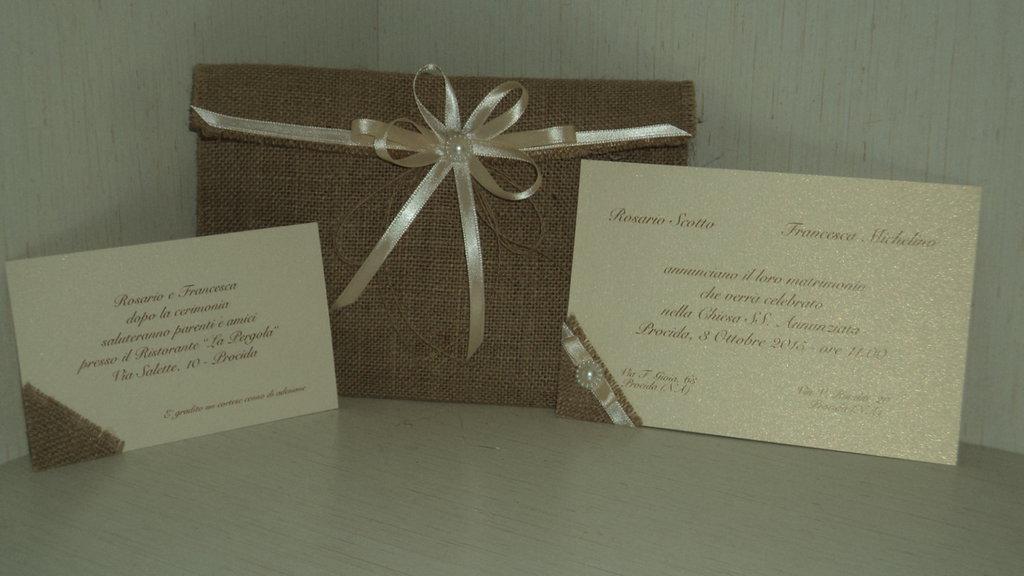partecipazioni matrimonio artigianali personalizzabili busta in juta