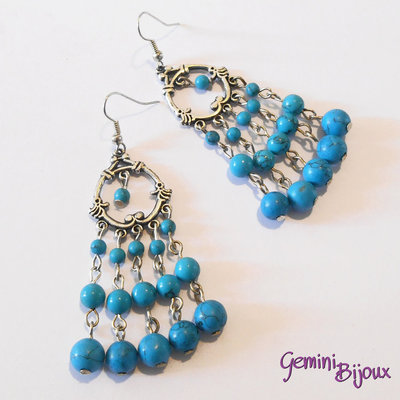 Orecchini chandelier con perle di turchese