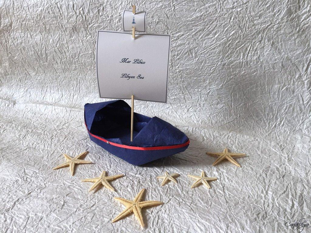 Barche origami segnatavolo tema marinaro