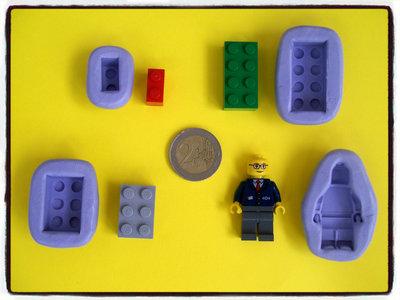 LOTTO 4 STAMPINI LEGO COSTRUZIONI MATTONCINI  FIMO STAMPI SILICONE GESSO PASTA CERNIT GESSETTI