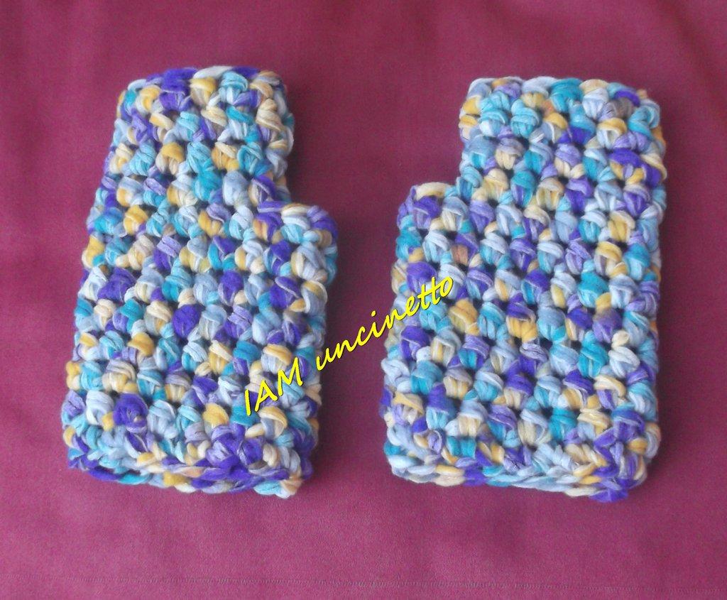 Guanti senza dita fettuccina misto lana multicolore all'uncinetto