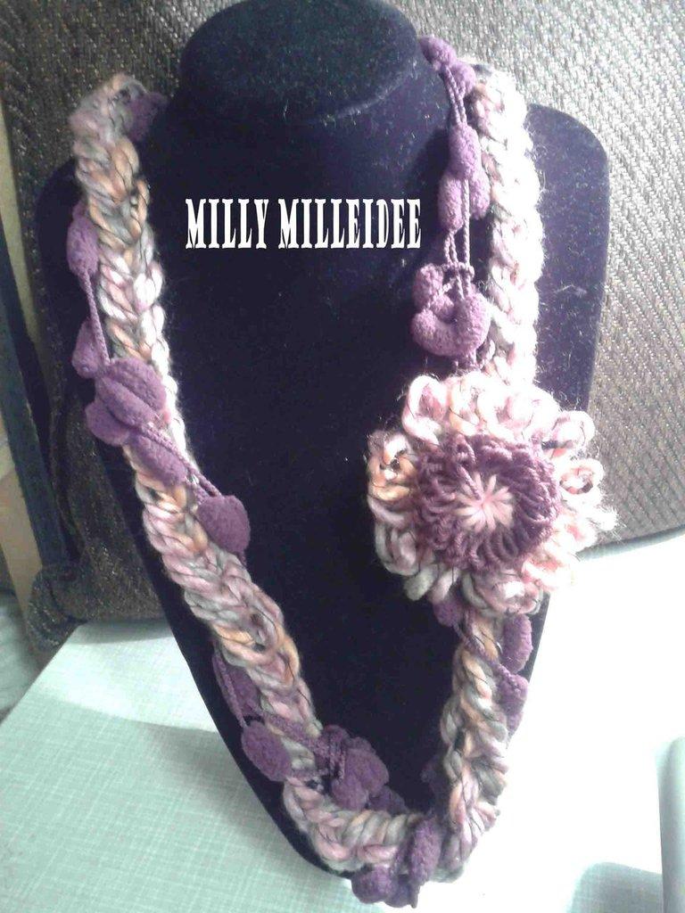 collana lana rosa/viola