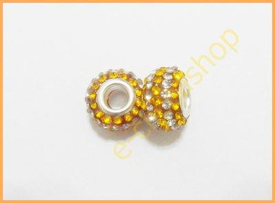 Perlina fori larghi con strass bicolore bianco e miele