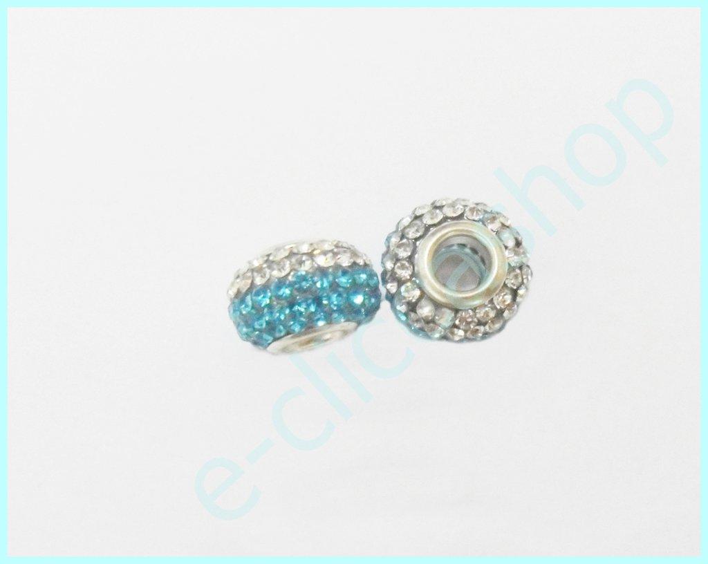 Perlina fori larghi con strass bicolore bianco e azzurro