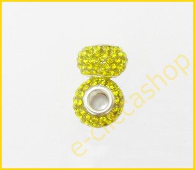 Perlina fori larghi con strass colore  giallo