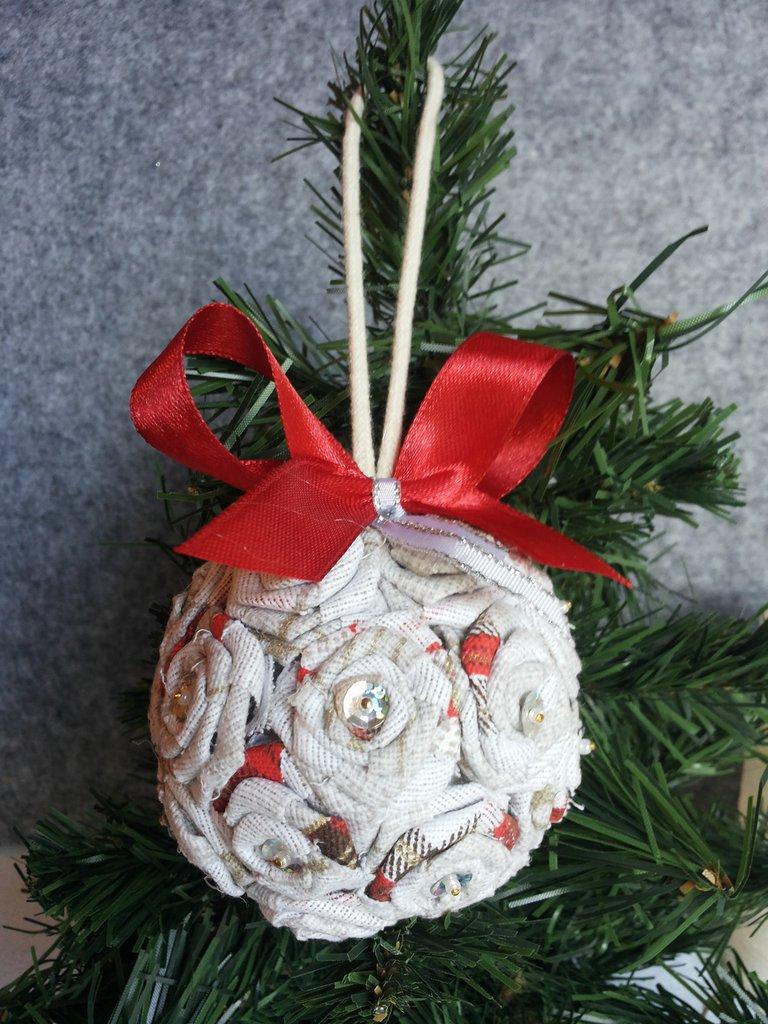 PALLINA Natale fiocco in raso rosso