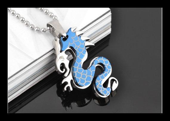 Ciondolo pendente acciaio drago blu