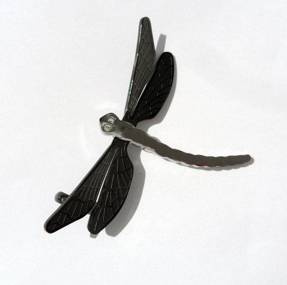 Ciondolo charm pendente libellula in acciaio con ali nere