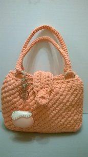 borsa in fettuccia di tulle rosa pesca