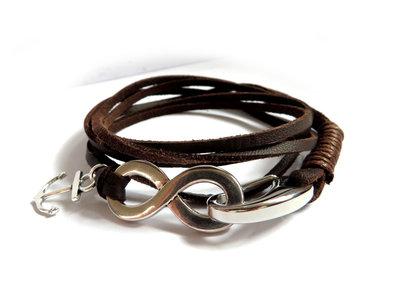 Bracciale UOMO Ancora & Infinito acciaio inossidabile 2 giri pelle marrone braccialetto nautico