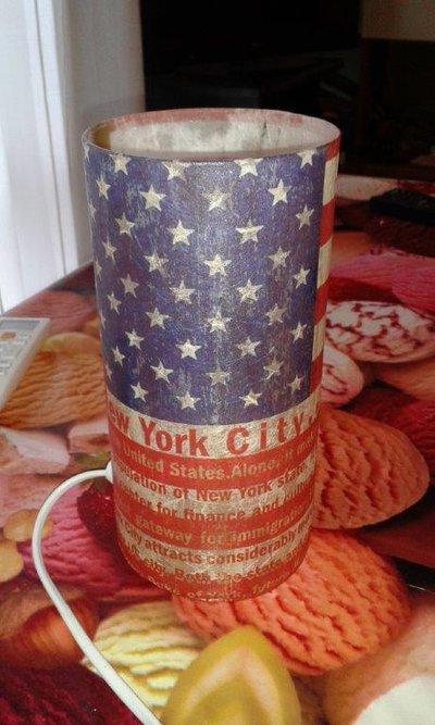 Lampada in vetro, con decorazione bandiera USA