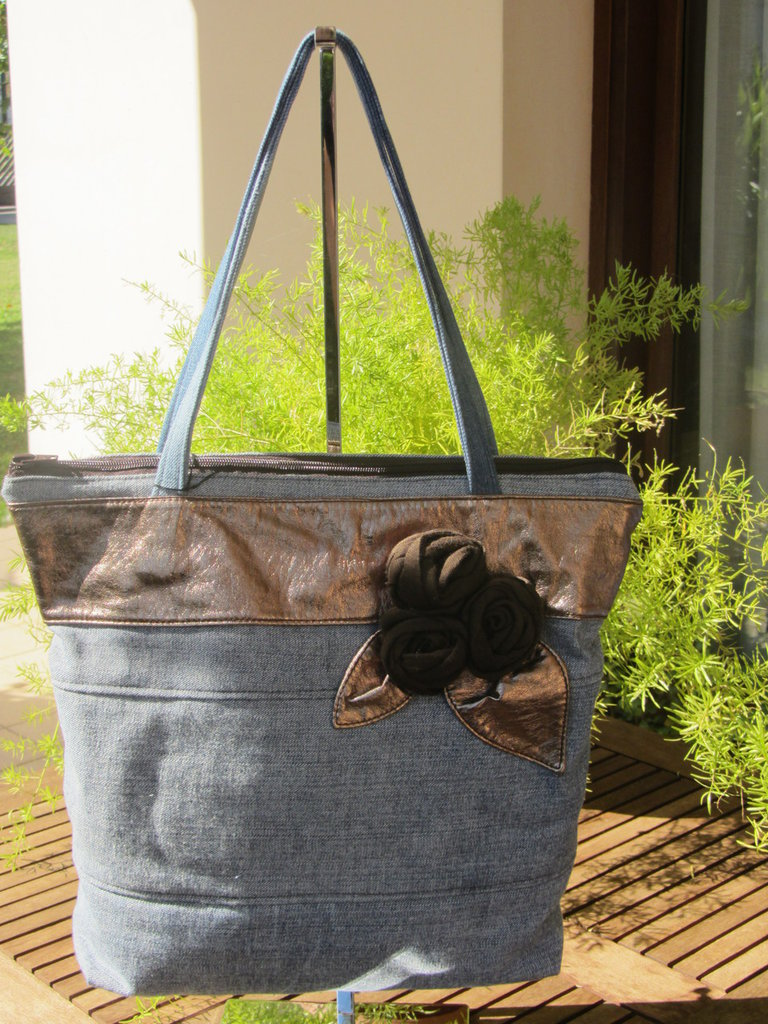 maxi tote bag shopper borsa in jeans reciclato blue slavato, marrone
