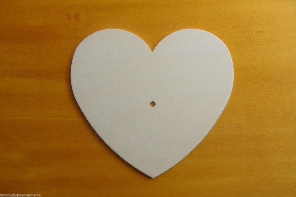 5 Base Orologio in legno di pioppo a forma cuore per il fai da te , decoupage