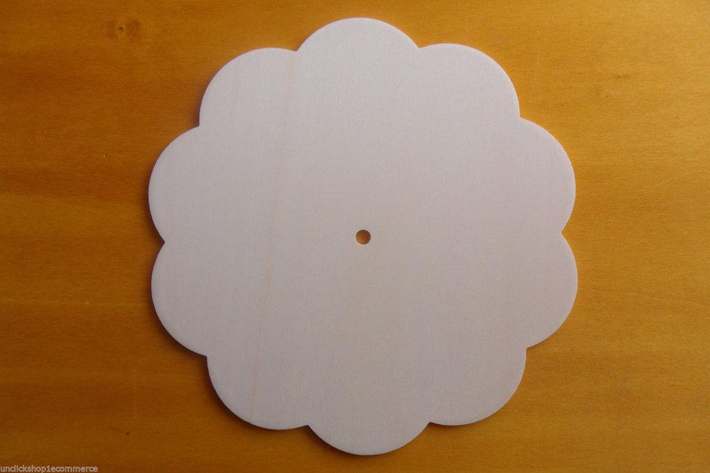 5 Base Orologio in legno di pioppo a forma corolla fiore per il fai da te , decoupage