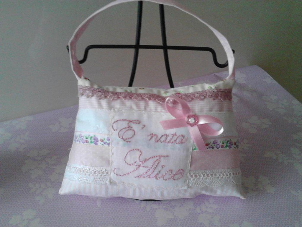 Fiocco nascita borsetta bambina