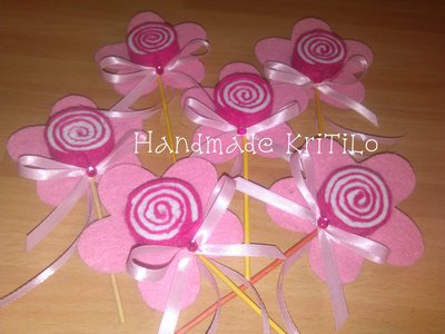 bomboniera lecca lecca fiore in feltro Handmade KriTiLo