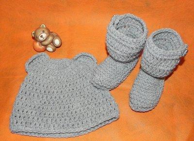 Stivaletti e cappellino con orecchie bimbo- bimba  grigio
