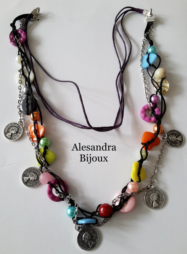 Collana Bottoni perle charms