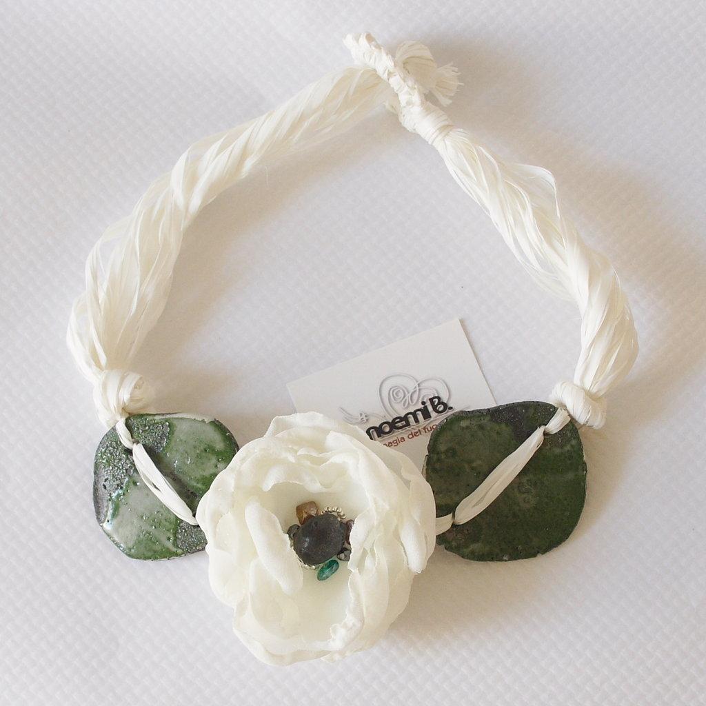 Collana raku verde/bianco