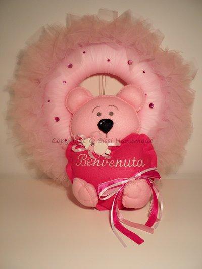 Fiocco nascita con orsetto rosa in pannolenci
