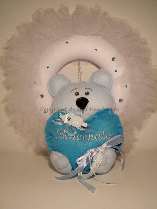 Fiocco nascita con orsetto azzurro in pannolenci