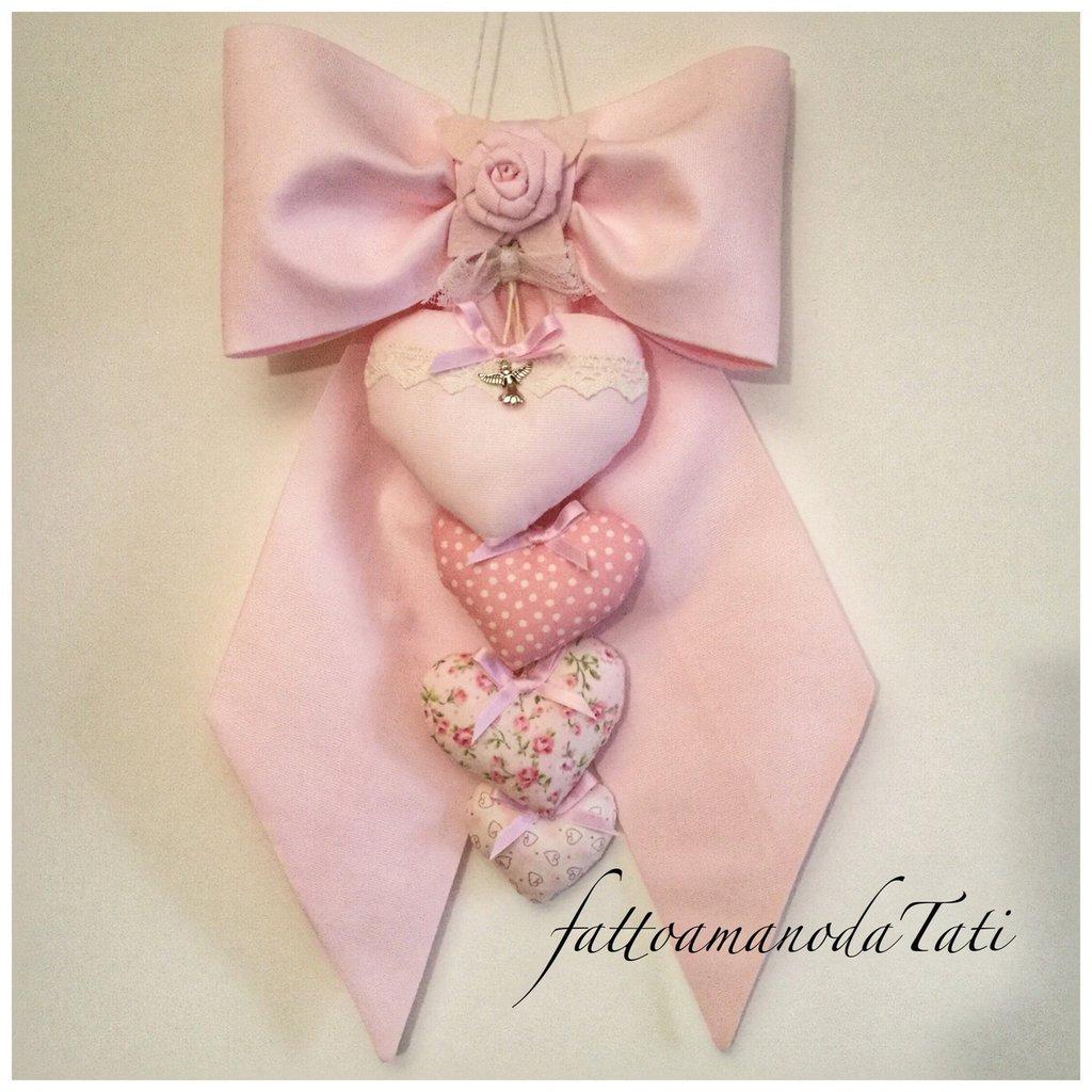 Fiocco nascita in piquet di cotone rosa con cuori imbottiti