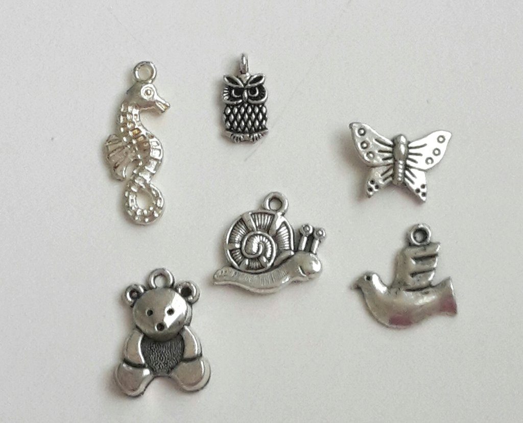 6 charms animali misti