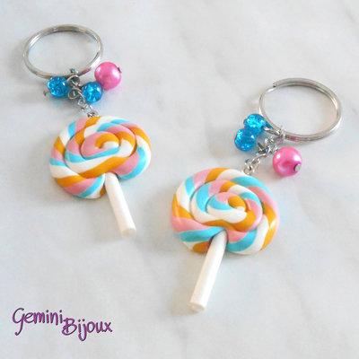Portachiavi Lollipop, in fimo fatto a mano, con perline in vetro