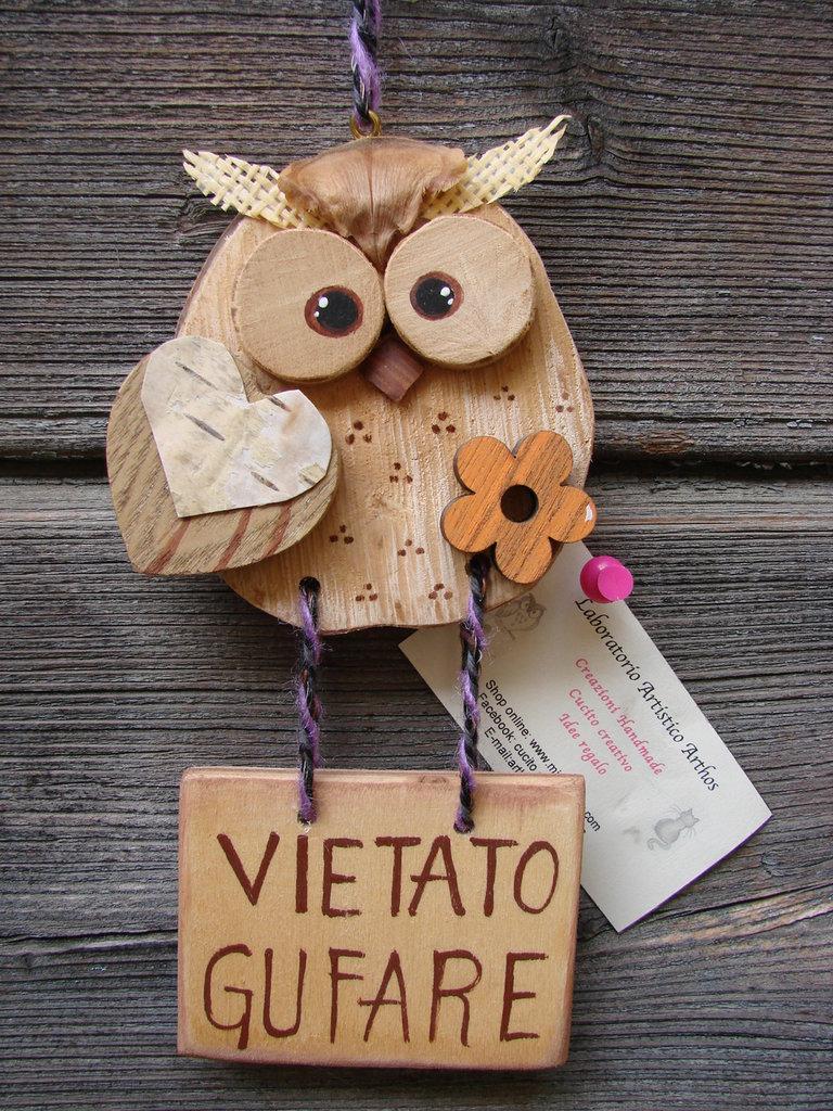 Targa cartello non gufare con gufo in legno idea regalo - Oggetti in legno per la casa ...