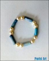 Bracciale elastico doppia perla e carta