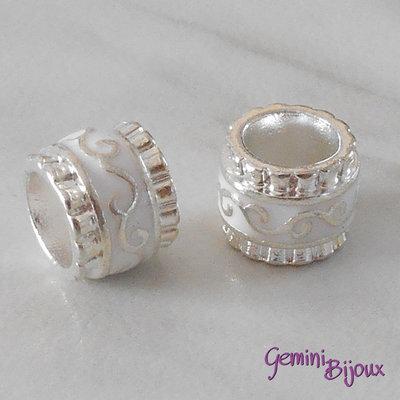 Perla in alluminio smaltata a foro largo, 11x9, silver bianco