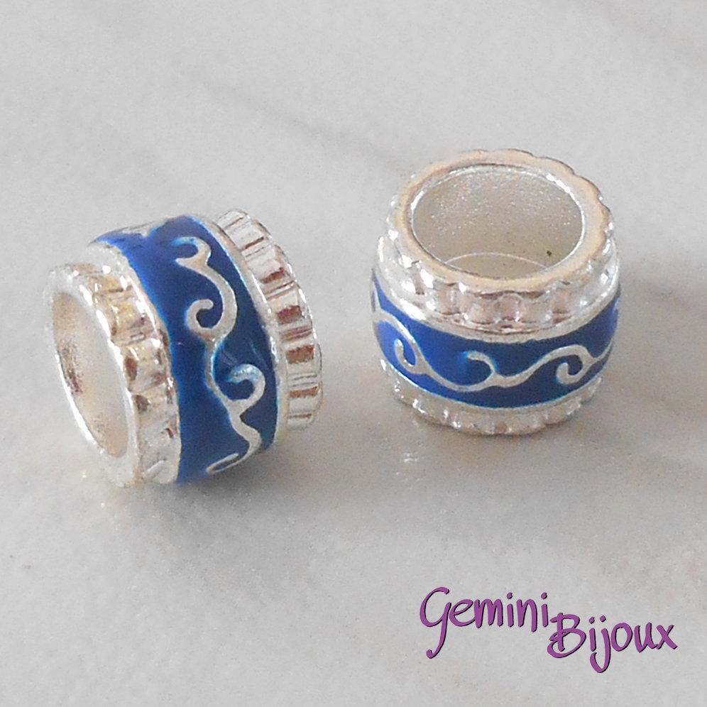 Perla in alluminio smaltata a foro largo, 11x9, silver blu