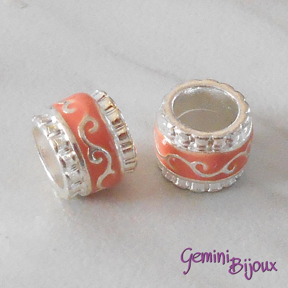 Perla in alluminio smaltata a foro largo, 11x9, silver arancio/salmone