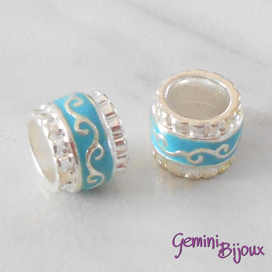 Perla in alluminio smaltata a foro largo, 11x9, silver azzurro